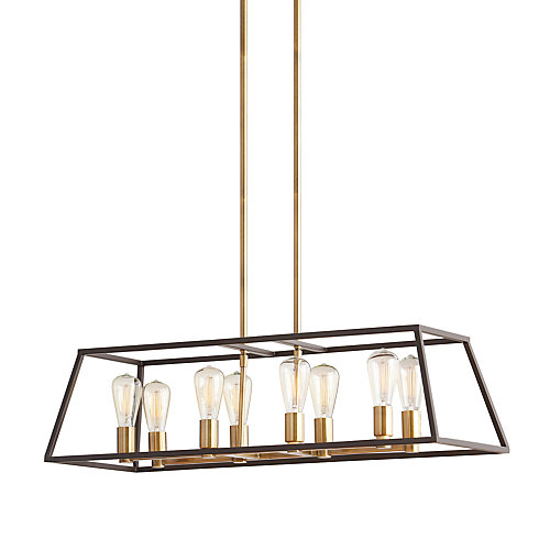 8-Light 60W Gold Pendant with Dark Bronze Metal Frame Shade