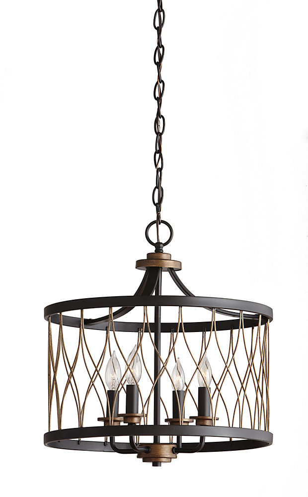 2712d06a600d Home Decorators Collection 4 Light 60w Black And Gold Pendant With