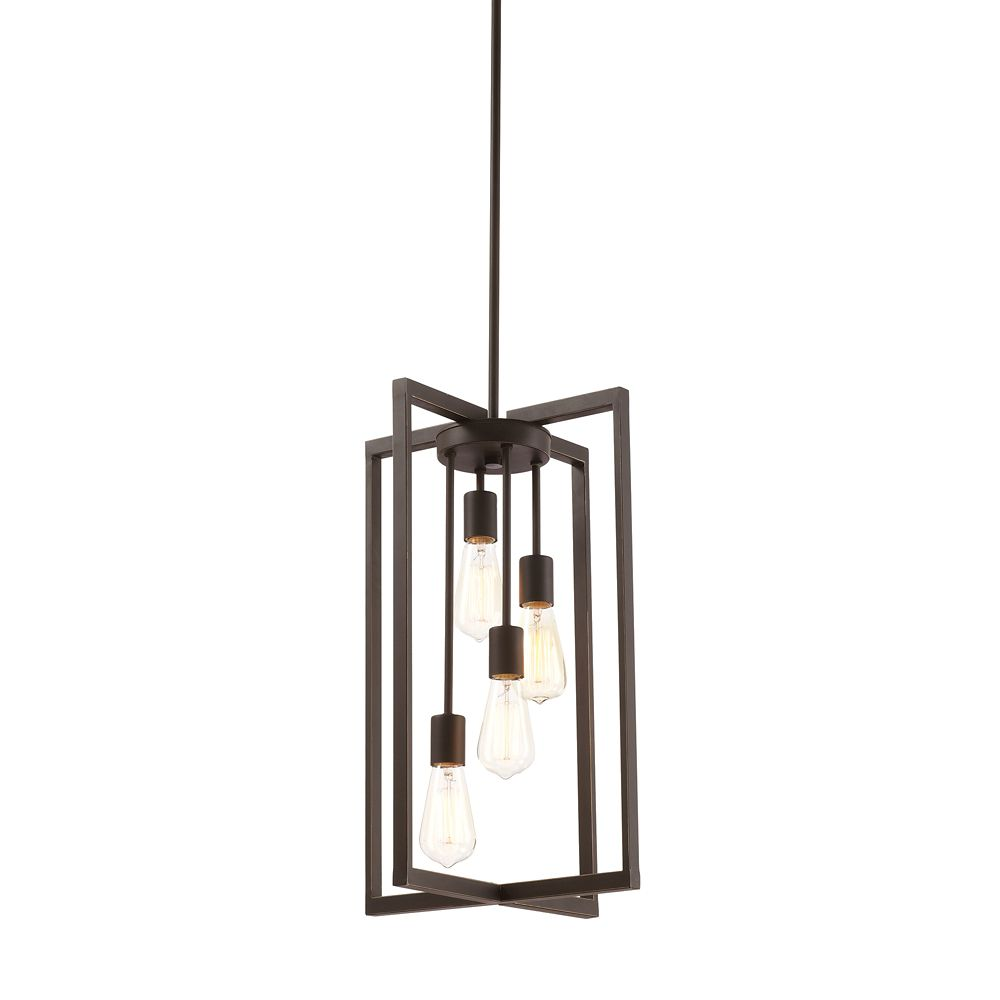 Home Decorators Collection 4-Light Pendant Light Fixture in Oil-Rubbed Bronze