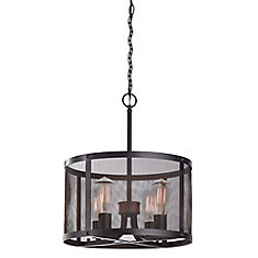 4-Light 60W Oil-Rubbed Bronze Pendant with Wire Mesh Drum Shade