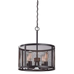 Home Decorators Collection 4-Light 60W Oil-Rubbed Bronze Pendant with Wire Mesh Drum Shade