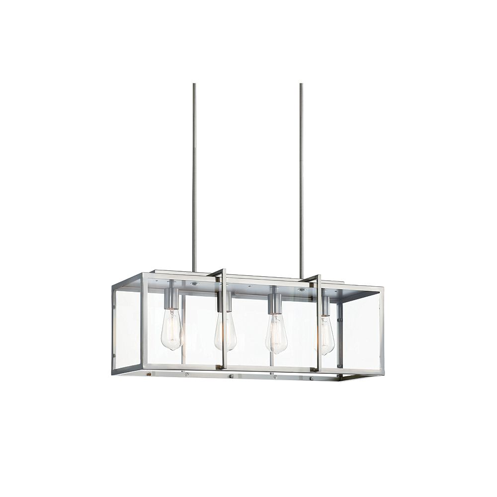 Home Decorators Collection 4-Light 60W Brushed Nickel Pendant with Rectangular Clear Glass Shade