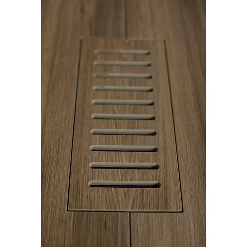 Aod Stone Porcelain vent cover made to match Corte Aged Teak Plank tile. Size - 5-inch x 11-inch