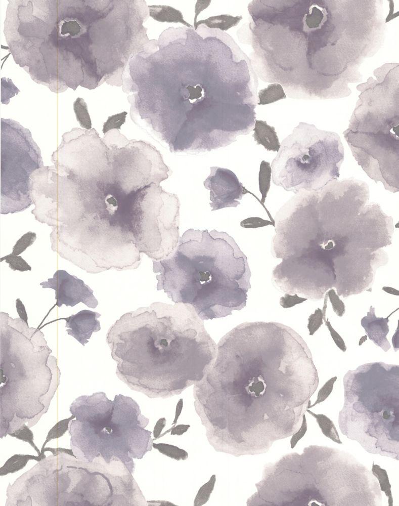 Coquelicots Papier Peint Violet - échantillon