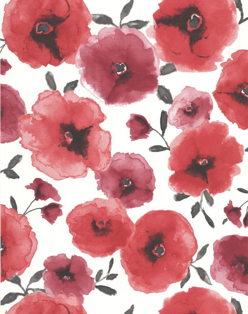 Poppies Red Wallpaper Sample