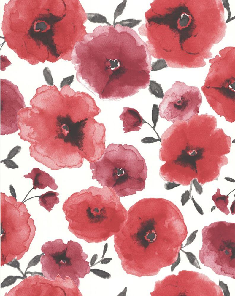 Coquelicots Papier Peint Rouge - échantillon