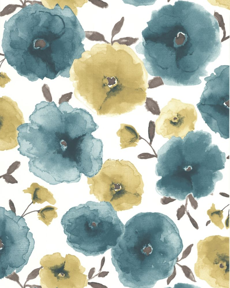 Poppies Teal Wallpaper Sample 32-42994 Canada Discount