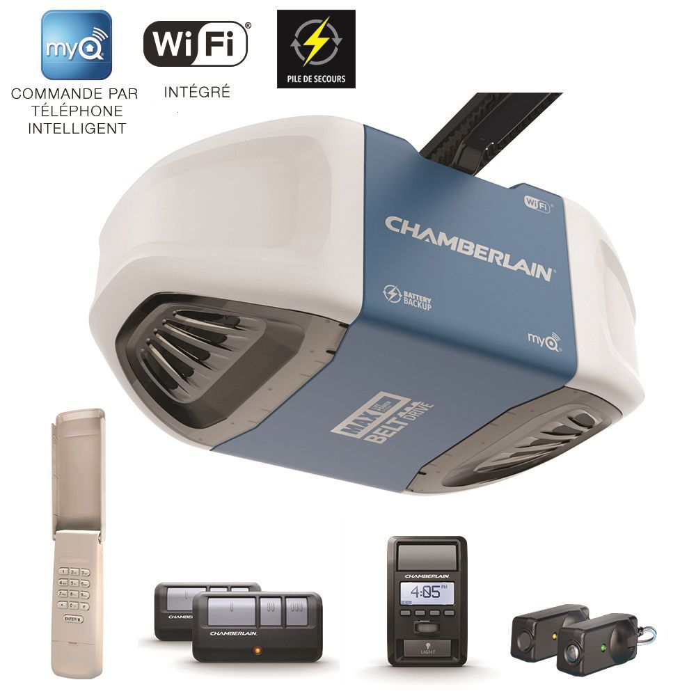 Chamberlain Smartphone-Controlled Ultra-Quiet & Strong Belt Drive Garage Door Opener w/Battery Backup