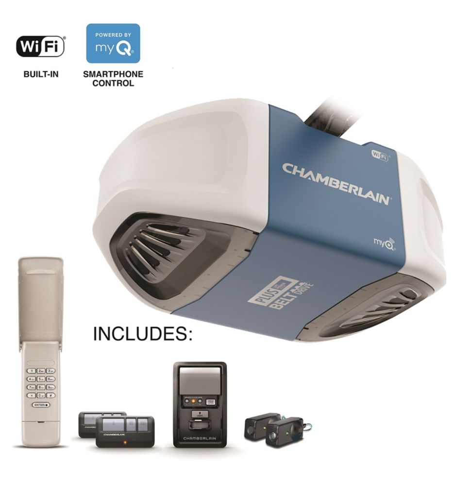Chamberlain Smartphone-Controlled Ultra-Quiet & Strong Belt Drive Garage Door Opener with PLUS Lifting Power