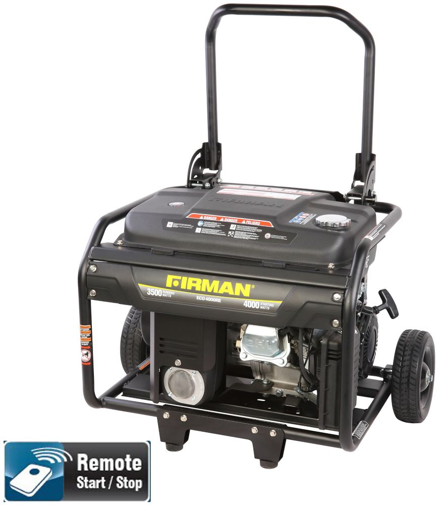 Firman 4000 Watt 6.5 HP Remote Start Gas Powered Portable Generator and Wheel Kit