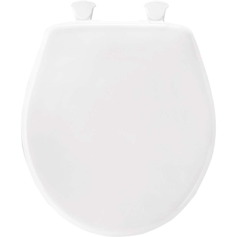 Round Plastic Closed Front Toilet Seat in Crane White