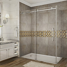 Moselle 60-Inch x 35-Inch x 75-Inch Frameless Sliding Shower Door Enclosure in Chrome