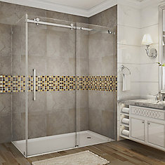 Moselle 60-Inch  x 35-Inch  x 75-Inch  Frameless Sliding Shower Door Enclosure in Stainless Steel
