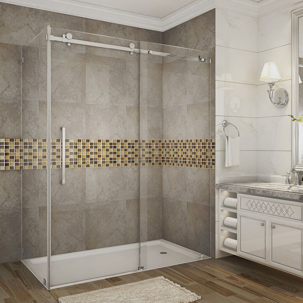 Aston Moselle 60-Inch  x 35-Inch  x 75-Inch  Frameless Sliding Shower Door Enclosure in Stainless Steel