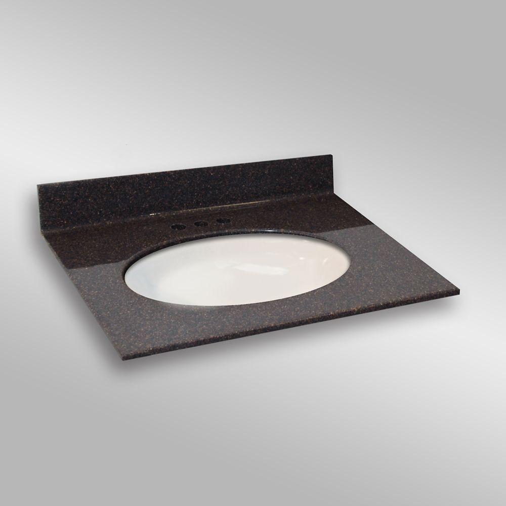 31-Inch W x 22-Inch D Granite Oval Centre Basin Vanity Top in Espresso