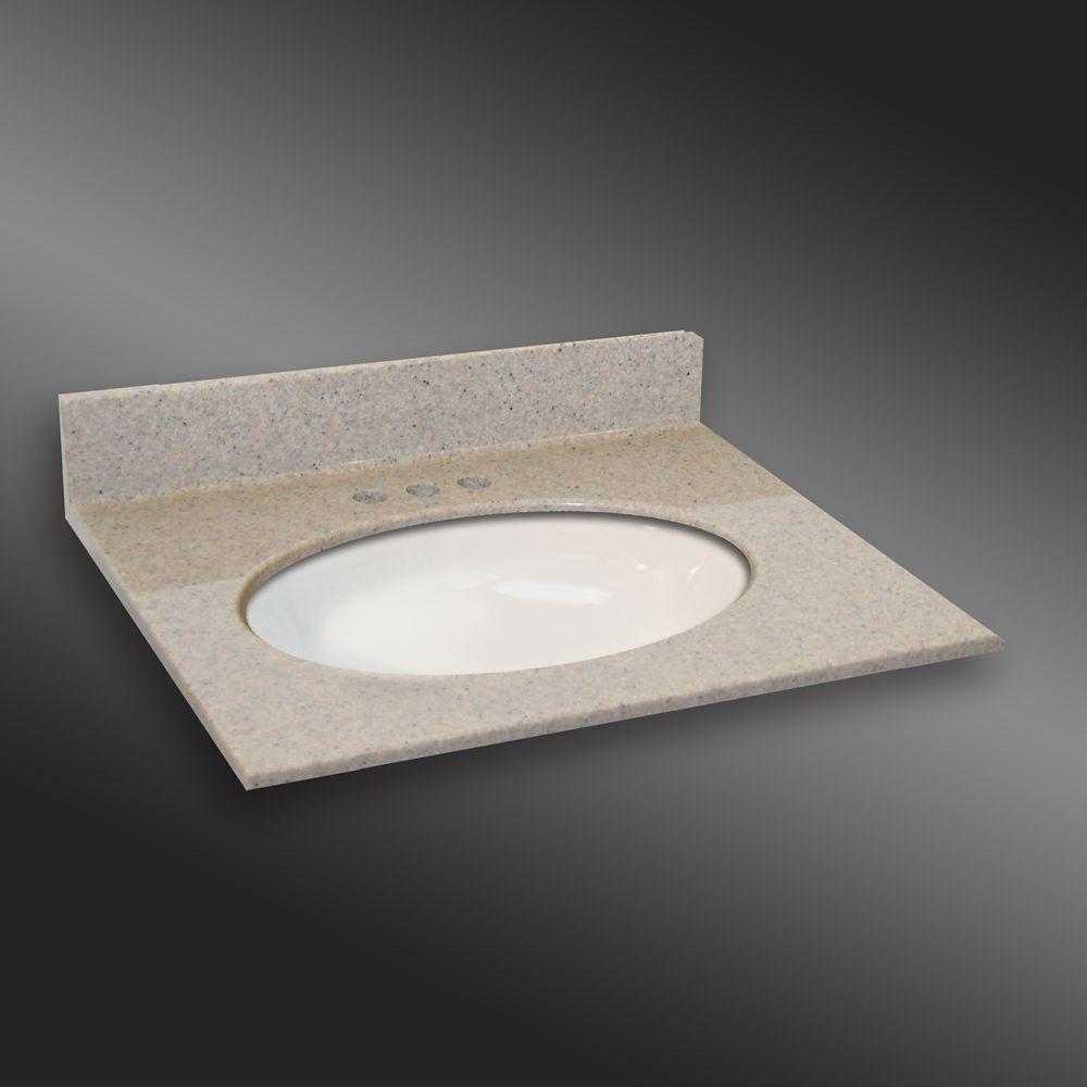 31-Inch W x 22-Inch D Granite Oval Centre Basin Vanity Top in Irish Cream