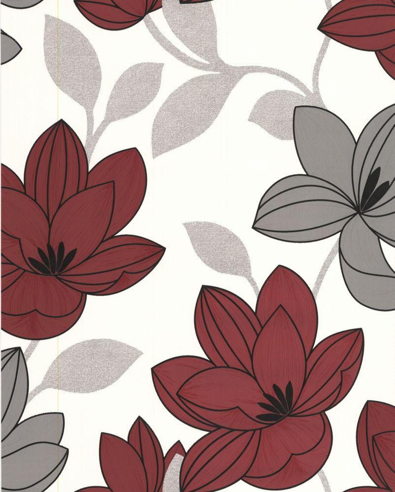 Superflora Red Wallpaper Sample