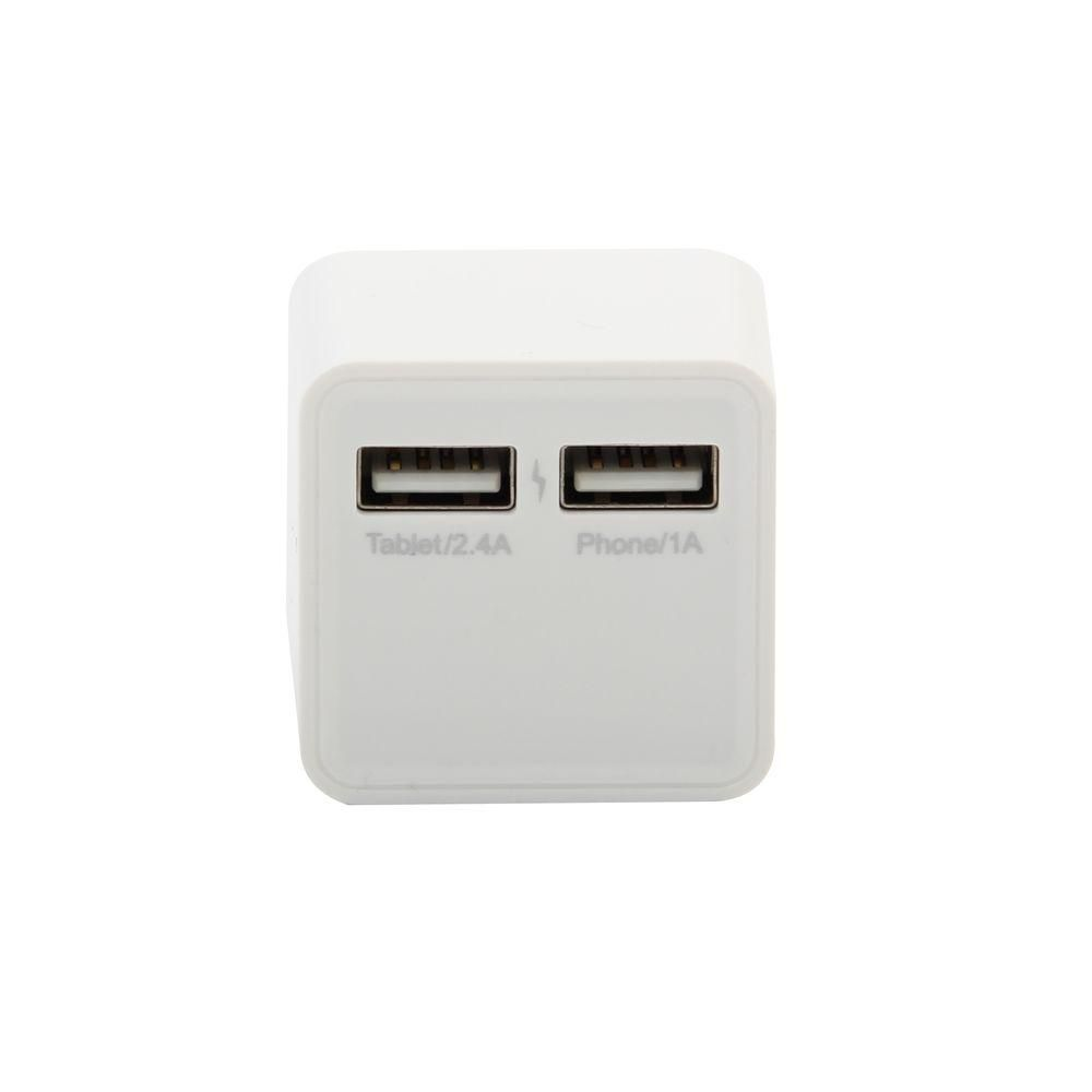 Square Ac Charger 2 Port White