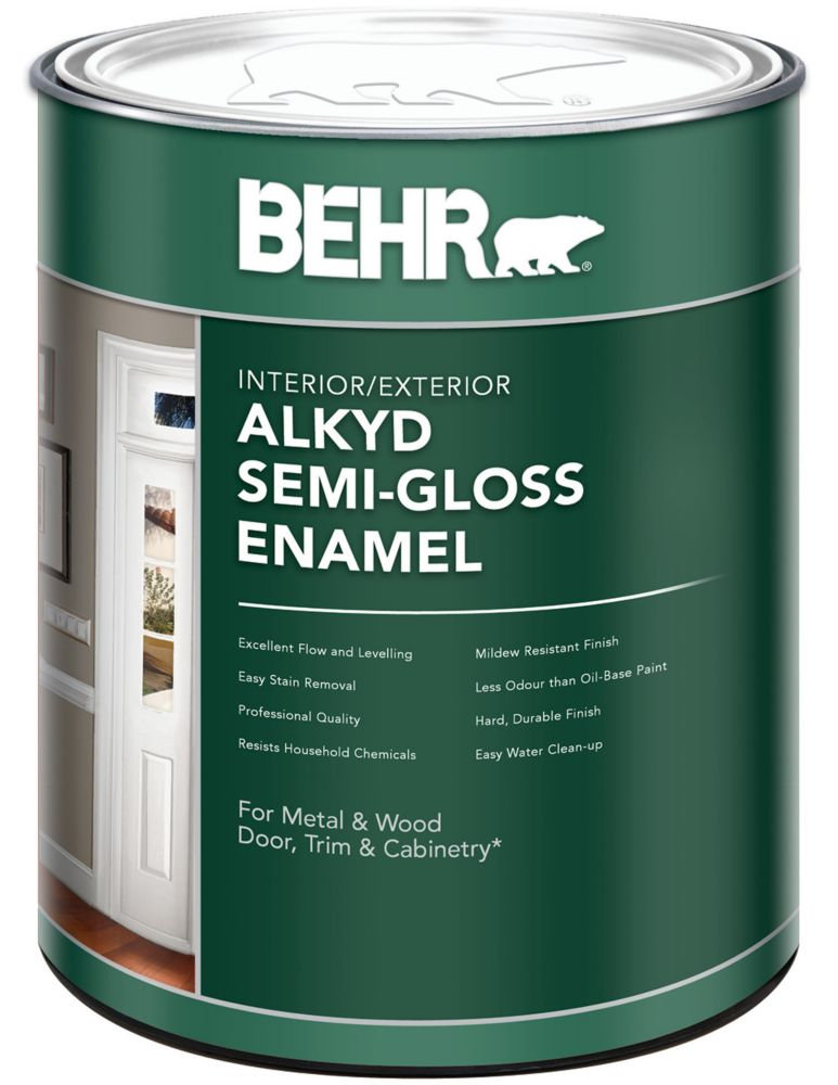 BEHR Interior/Exterior Alkyd Semi-Gloss Paint, 946 mL