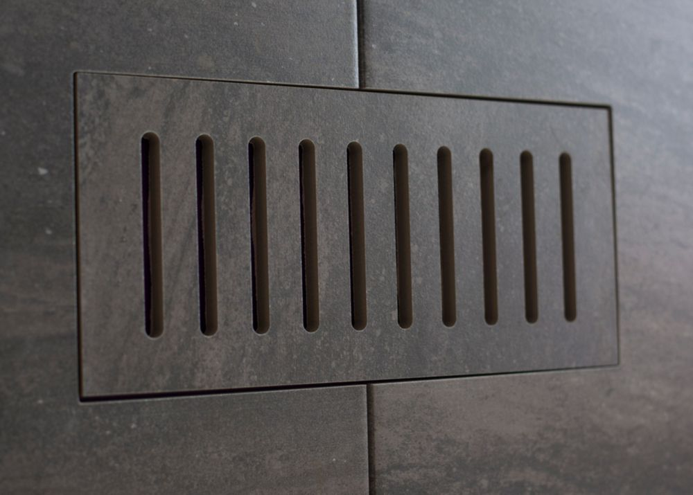 Porcelain vent cover made to match Fragment Graphite tile. Size - 4 Inch x 11 Inch