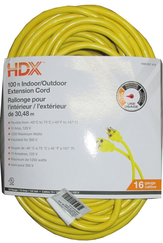 HDX 100 ft. Indoor/Outdoor Extension Cord in Yellow