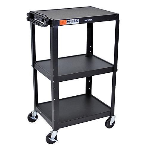 Steel Adjustable Height AV Cart - 3 shelves 25x19x22