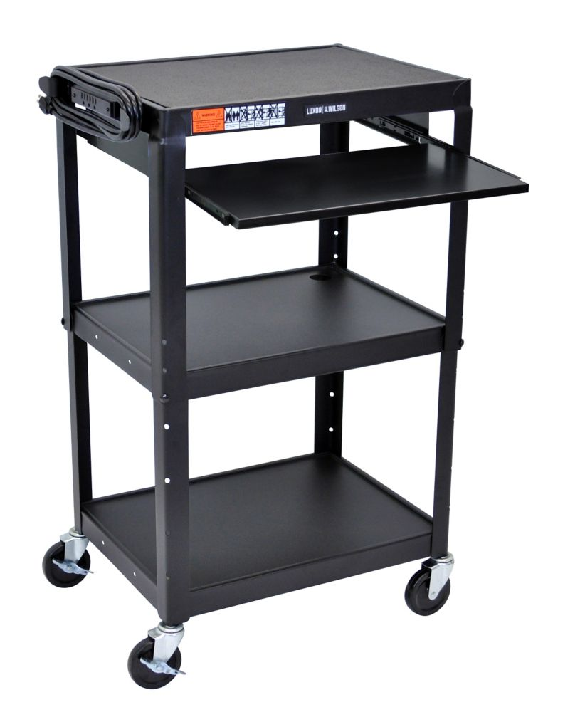 Adjustable Height Steel Cart With Pullout Keyboard Tray 25x19x22