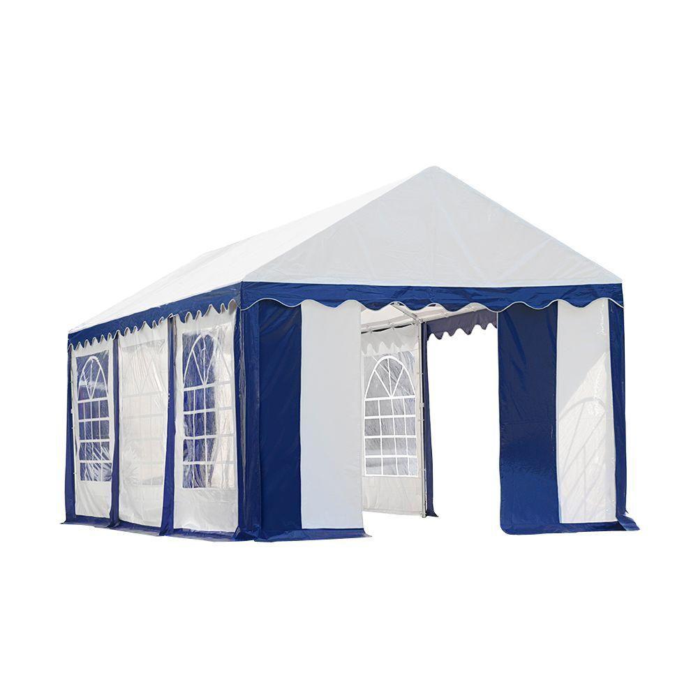 Tente de réception et kit de fermeture 3 x 6 m - Bleu / Blanc