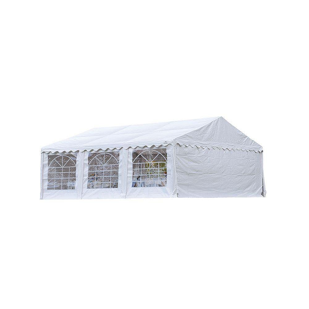 ShelterLogic Tente de réception et kit de fermeture 6 x 6 m - Blanc