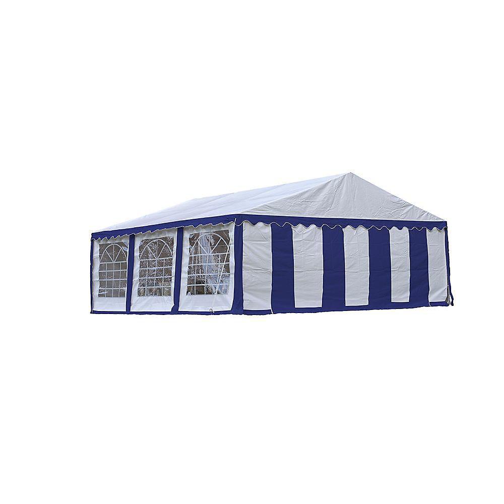 Tente de réception et kit de fermeture 6 x 6 m - Bleu / Blanc