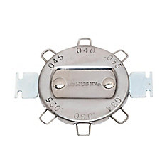 This 6 Cap Spark Plug Gap Gauge covers the most common standard spark plug gap adjustments. The tool has 2 electrode adjusters built in to aid in gap adjustments.