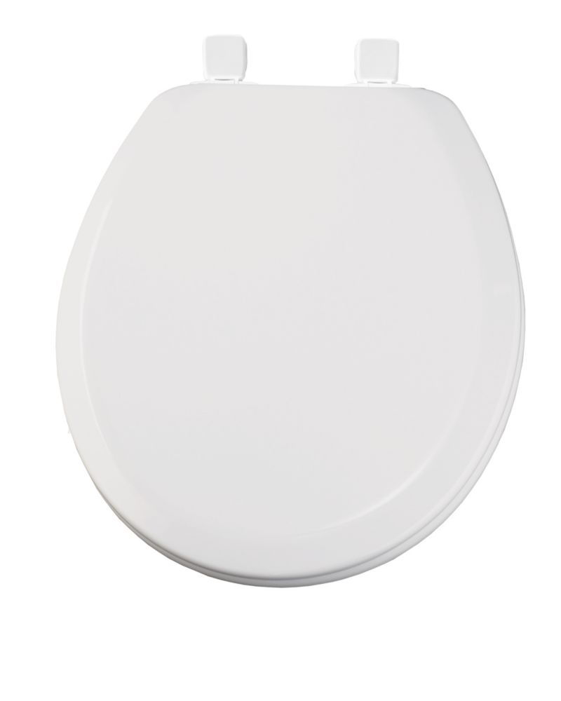 Round Wood Closed Front Toilet Seat in White