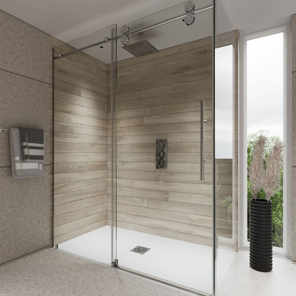 Valley Shower Door Rolling Door And A Single Fixed Panel