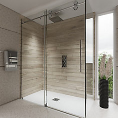 60-inch x 76.75-inch Framed Rectangular Sliding Shower Door in Clear Glass with Chrome Hardware