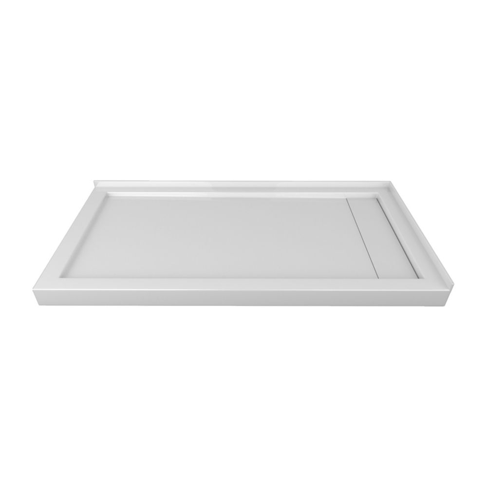 60 x 32 In. Linear Drain Double Threshold Left-Hand Shower Base