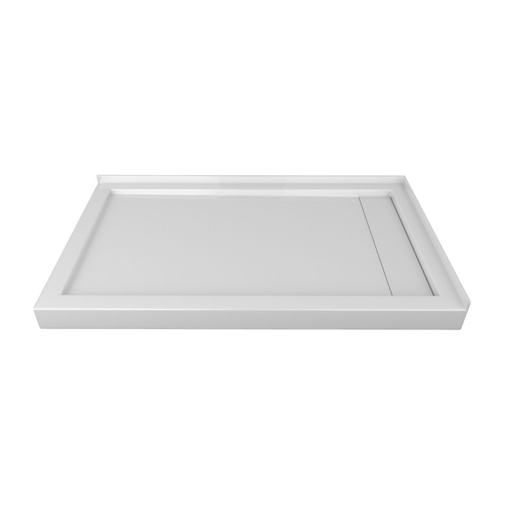 60 x 36 In. Linear Drain Double Threshold Left-Hand Shower Base