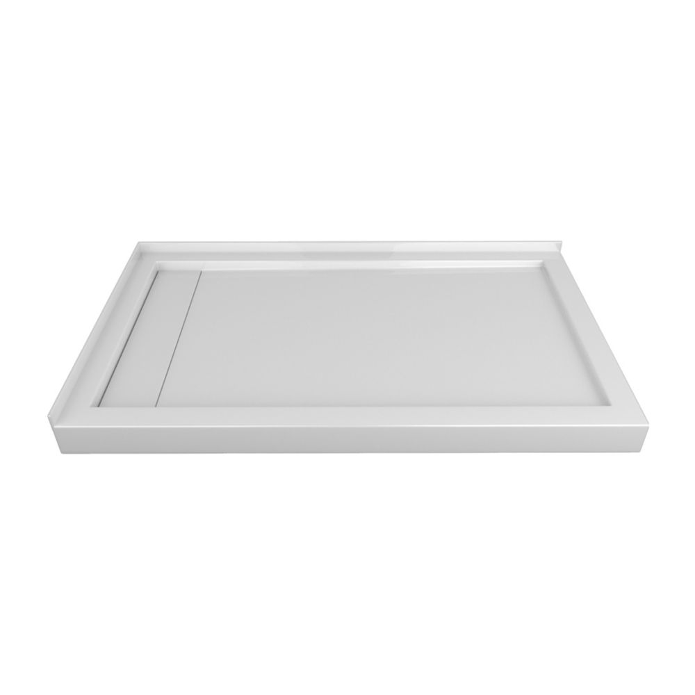 60 x 36 In. Linear Drain Double Threshold Right-Hand Shower Base