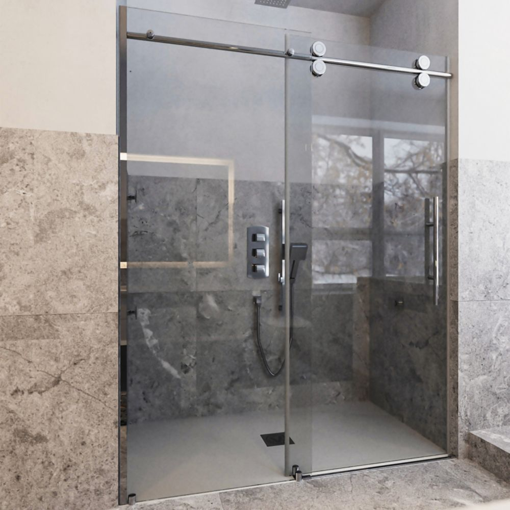 48 In. Opening Rolling Shower Door And A Single Fixed Panel