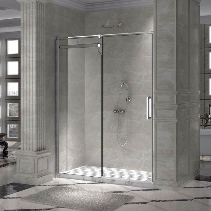 59 In. Opening Rolling Shower Door And A Single Fixed Panel