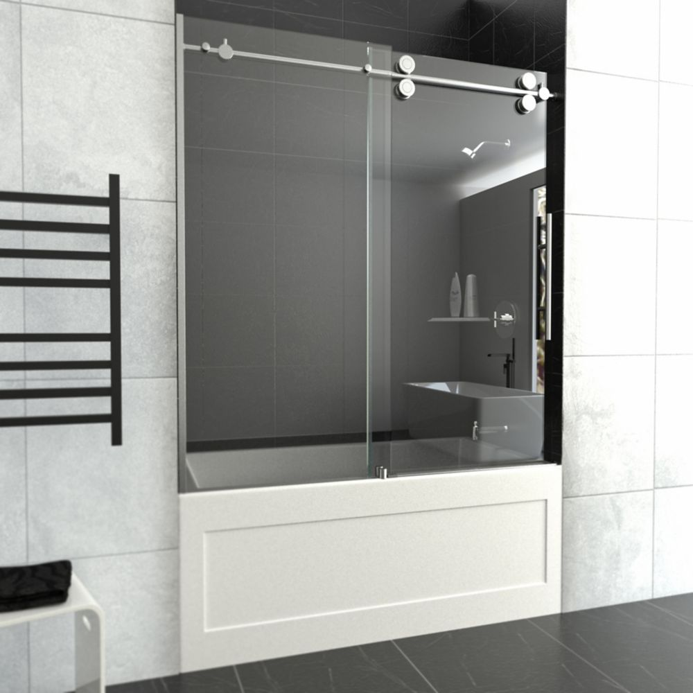 59 In. Glass Opening Sliding Tub Door For Skirted Tub
