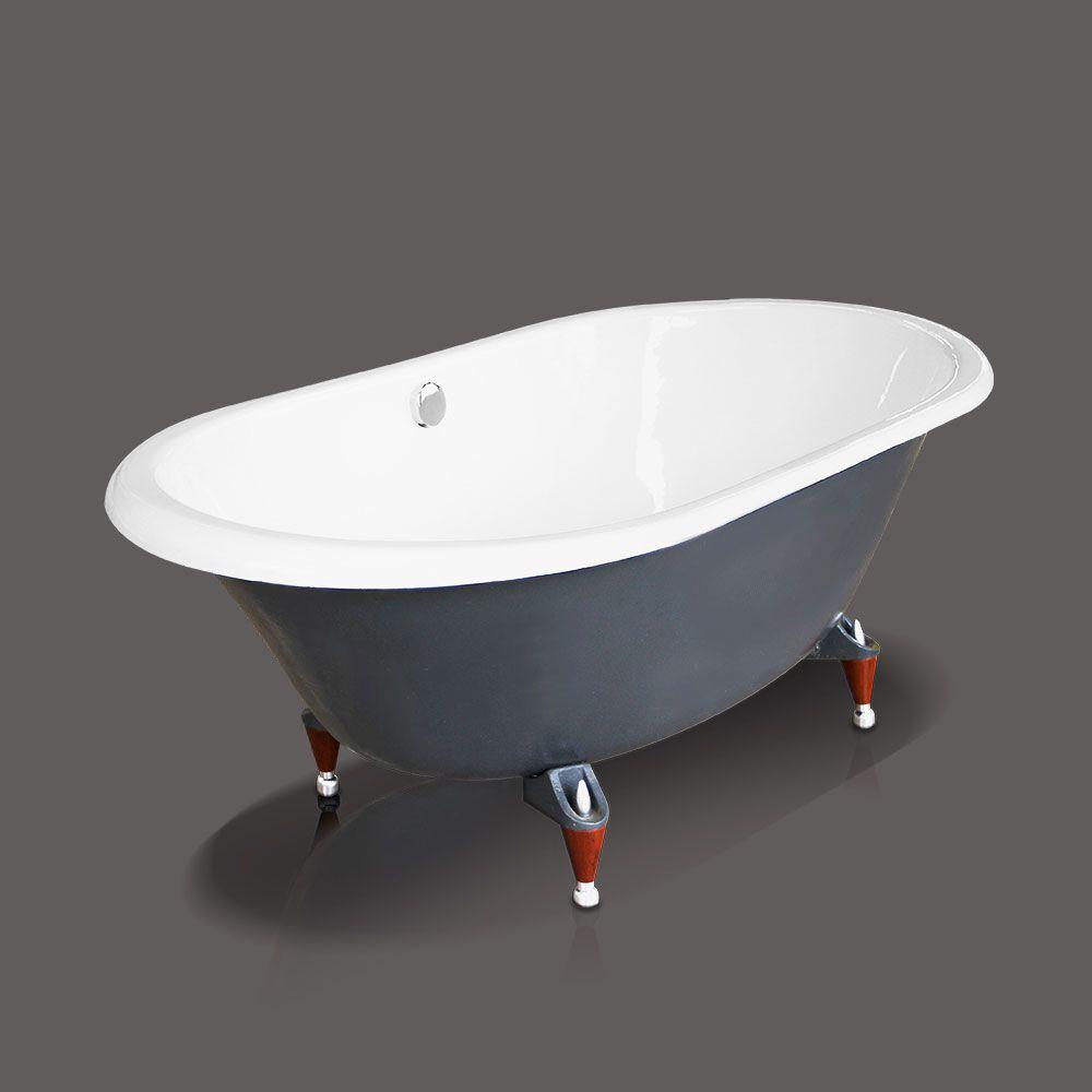 Cast-Iron Wooden Clawfoot Bathtub in Navy Blue