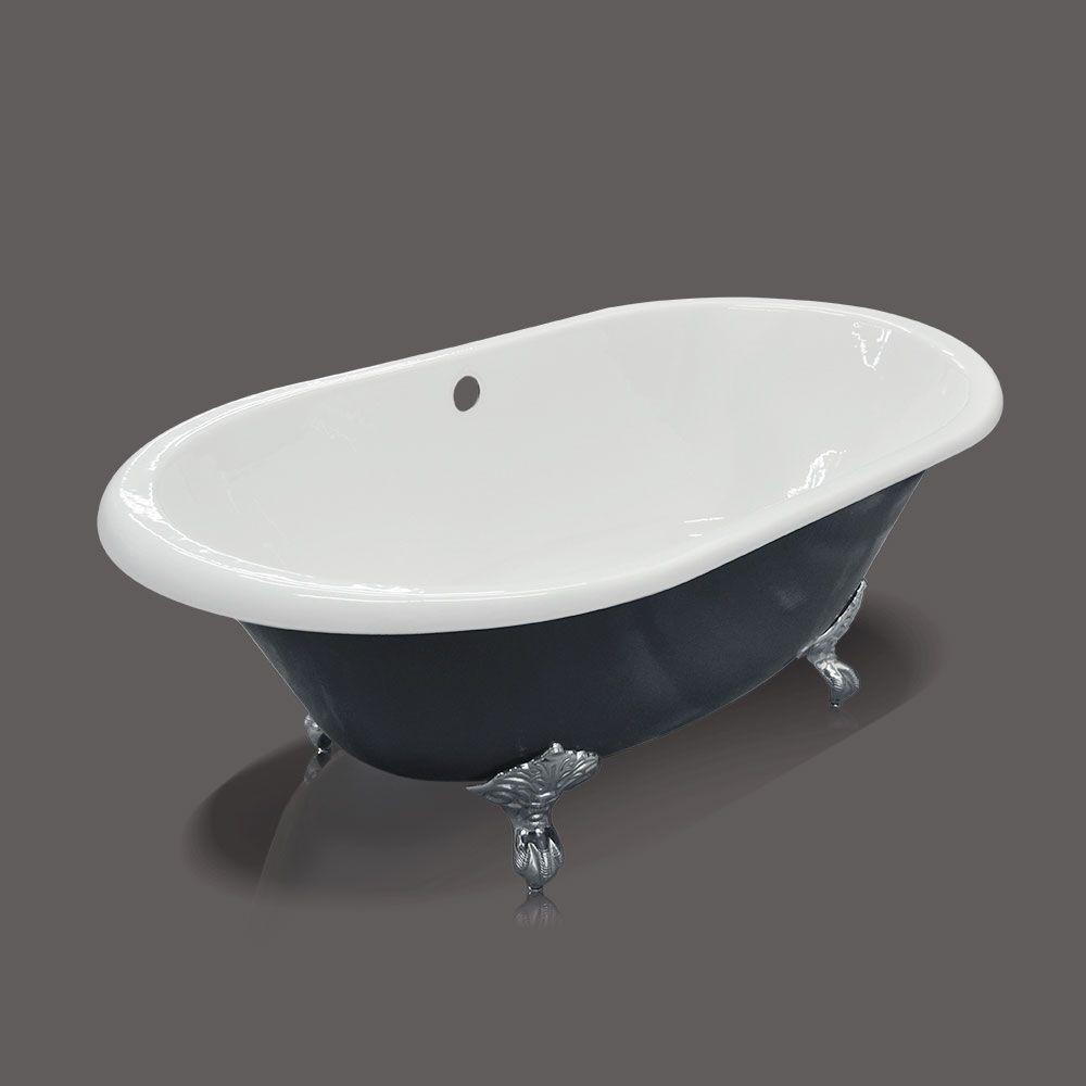 Cast-Iron Metal Clawfoot Bathtub in Navy Blue