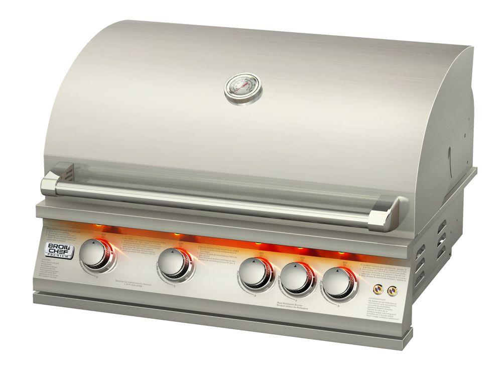 Broilchef 32 pouces intégré LP Barbecue au gaz avec brûleur de tournebroche arrière