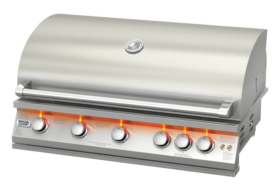 Broilchef 75,000 BTU 40-inch 5-Burner Stainless Steel Built-In Propane BBQ