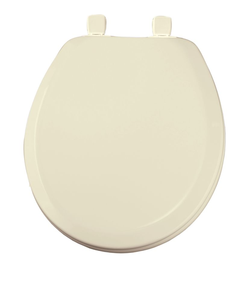 Round Wood Closed Front Toilet Seat in Bone