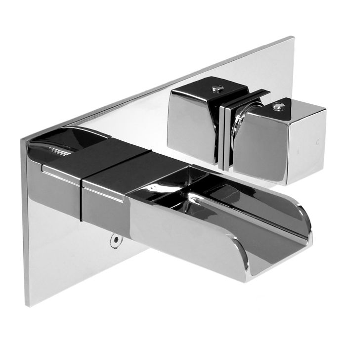 Love208p Single Hole 1-Handle Low Arc Waterfall-Flow Bathroom Faucet in Chrome with Knob Handle