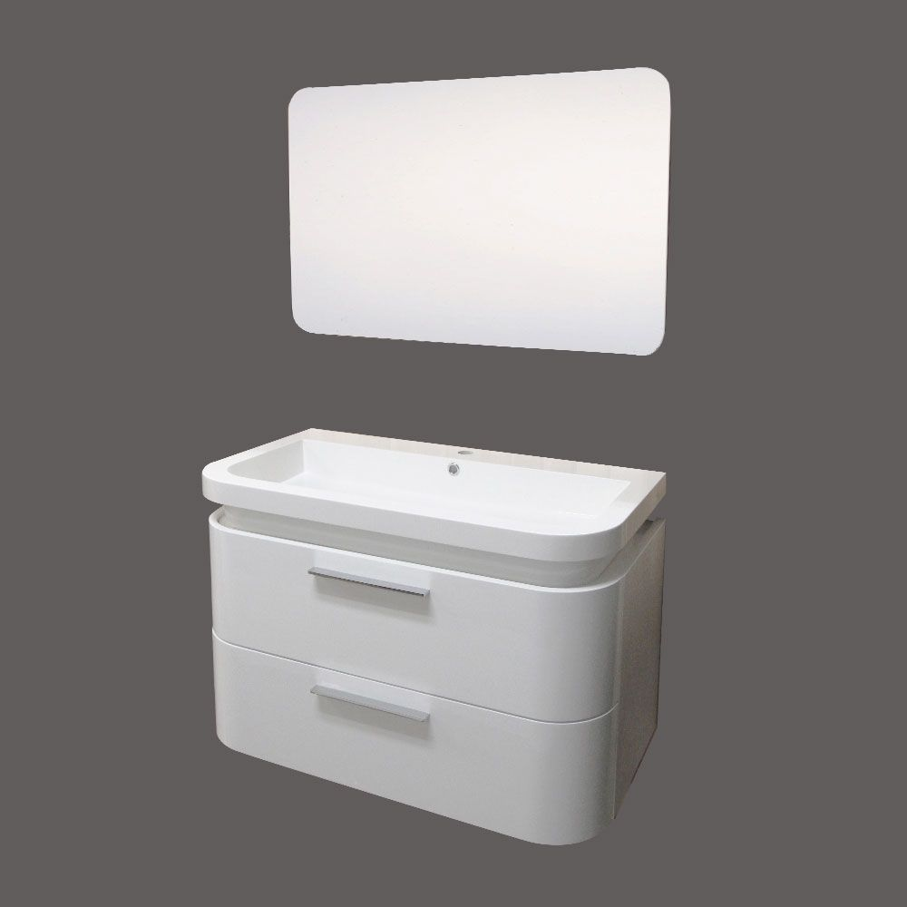 Wall Cabinet Vanity in White with 2 Full Width Drawers and Mirror