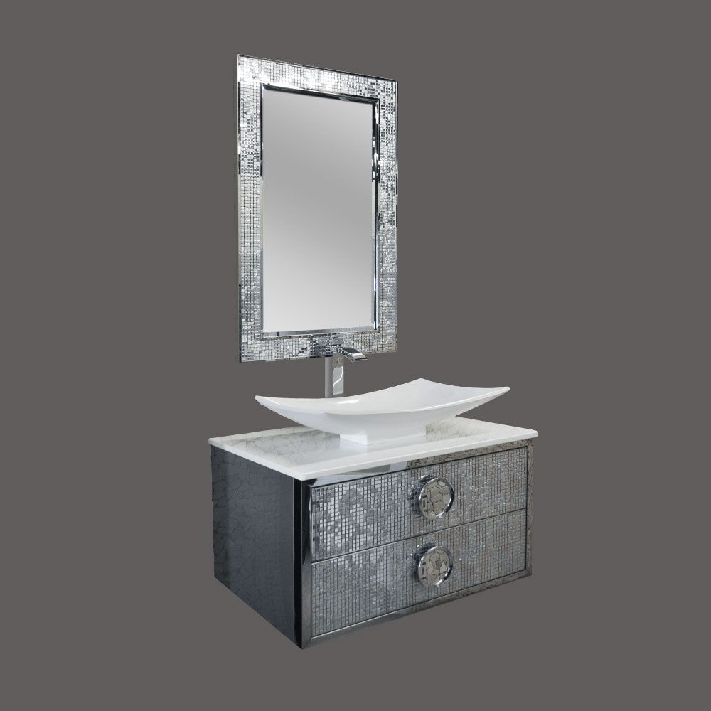 Two Drawer Vanity in Chrome Finish with Shila Stone Basin and Mirror