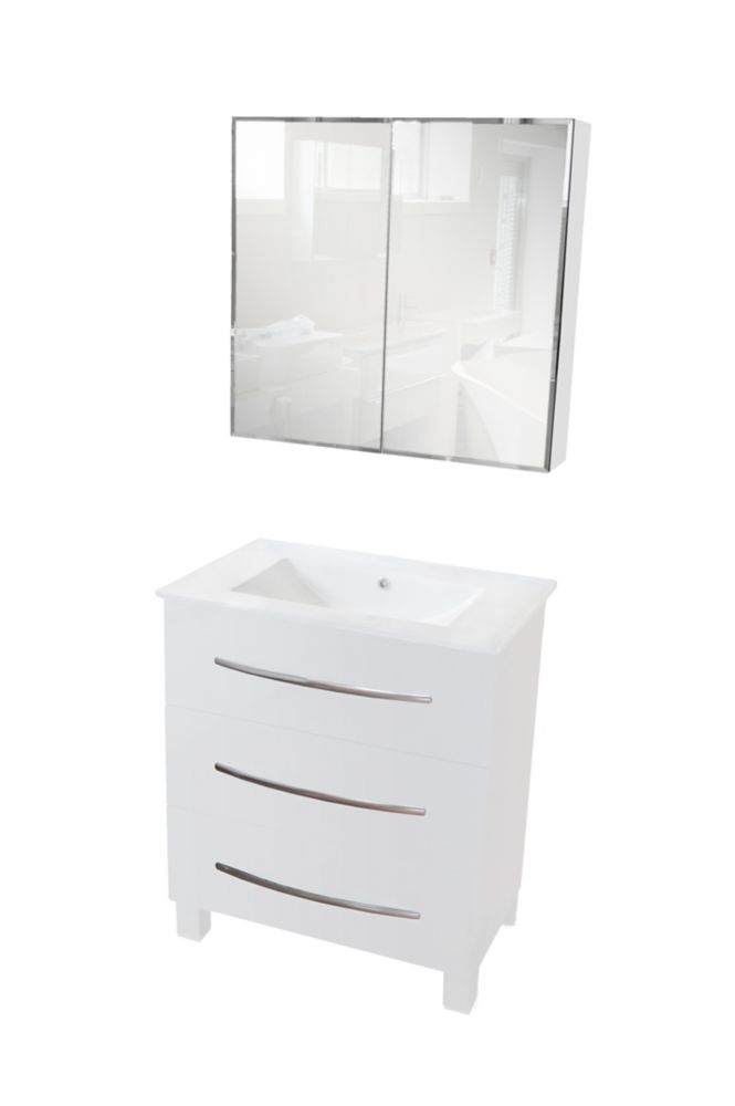 Freestanding MDF Painted Vanity With Wooden Feet, Ceramic Drop-In Basin And Mirror Cabinet