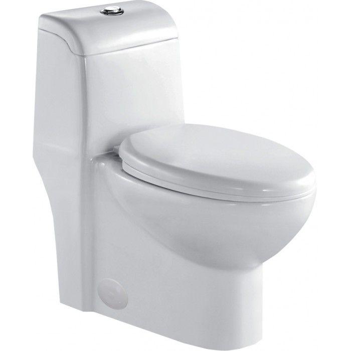 Toilette allongée à double chasse monobloc